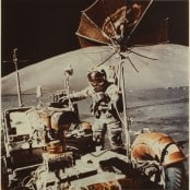 Commander Cernan Getting on Board of the Lunar Rover